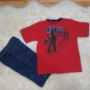 FUBU Vintage Hip Hop Tee & Denim Cargo Shorts
